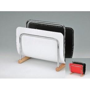 Revistero metal polipiel y madera bicolor rojo negro