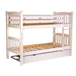 Litera muy resistente de madera de pino macizo color Blanco translucido