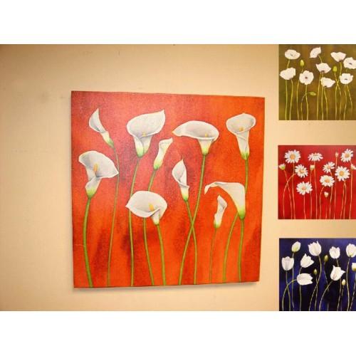 Pack 4 cuadros Flores blancas